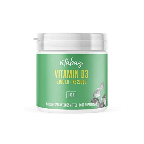 Vitabay Vitamin D3 5000 IE + Vitamin K2 MK-7 200 mcg • 100...