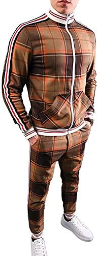 ZLFCRYP Herren Plaid Trainingsanzug Sportswear Set Full Zip...