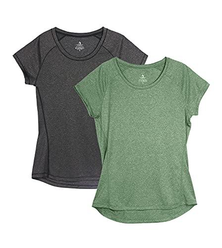 icyzone Damen Fitness Sport T-Shirt Kurzarm Laufshirt Gym...