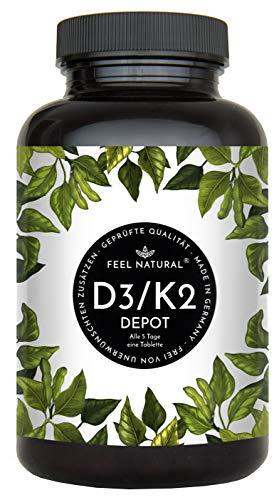 Vitamin D3 + K2 Tabletten - 180 Stück - Hochdosiert mit...