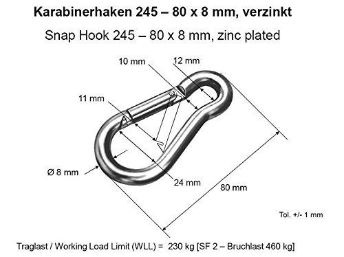 5 Stück Feuerwehr-Karabinerhaken, verzinkter Stahl, 80 mm,...