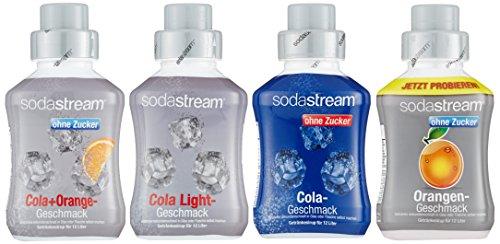 SodaStream 4er Sirup-Packung, Cola ohne Zucker, Orange ohne...