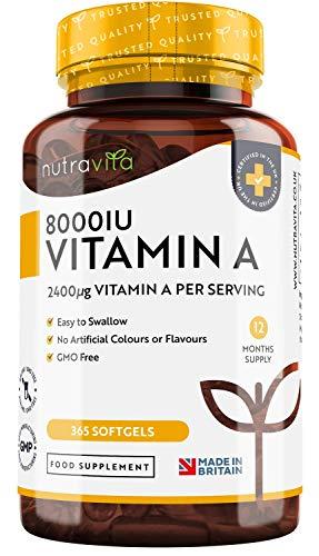 Vitamin A 8000 IE – 365 Kapseln, Ein Jahr Lieferung - Zur...