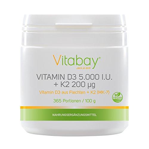 Vitamin D3 5.000 I.E. + Vitamin K2 200 µg - 99,99%...