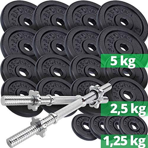 ScSPORTS® 70 kg Hantelscheiben-Set Guss inkl. 2X Kurzhantel...