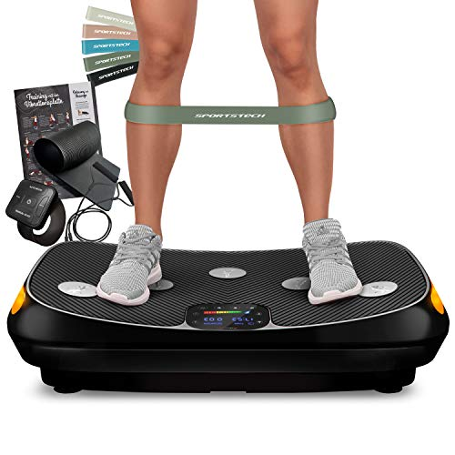 Fitness Guru Testsieger 2021 Vibrationsboard - 4D Vibrationsplatte VP400 im Curved Design + Trainings-Videos