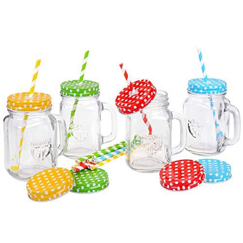 GRÄWE Trinkglas mit Deckel und Strohalm, 4er Pack...